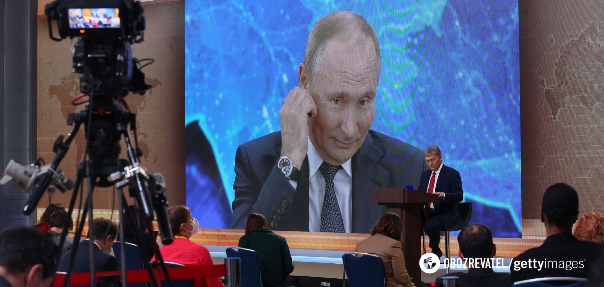 Президент России Владимир Путин на большой пресс-конференции в декабре 2020 года выступал он-лайн