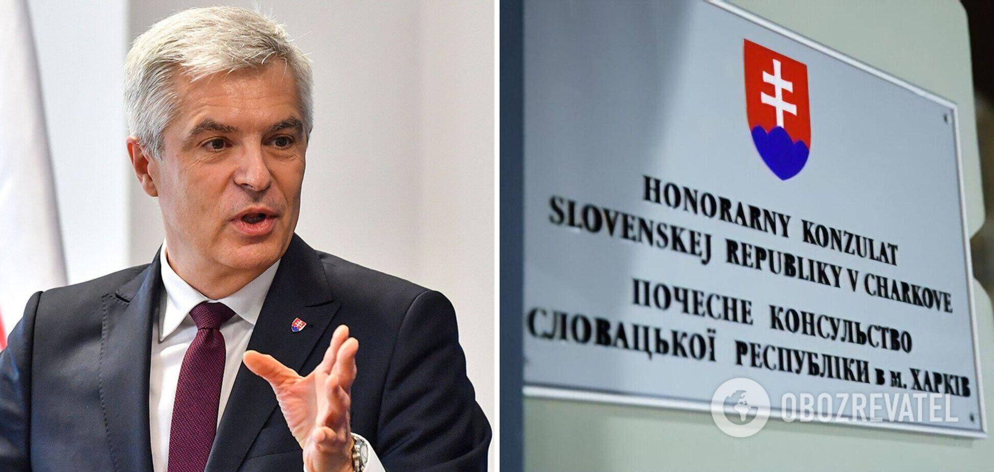 На консульстві Словаччини в Харкові залишили напис про Крим: у МЗС відреагували