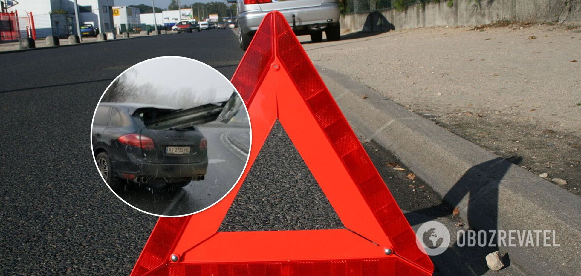 У Києві відбійник наскрізь прошив Porsche Cayenne: водій дивом вижив. Фото
