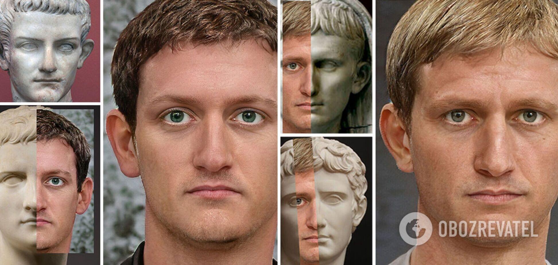 За допомогою бюстів і монет художник відтворив обличчя імператорів