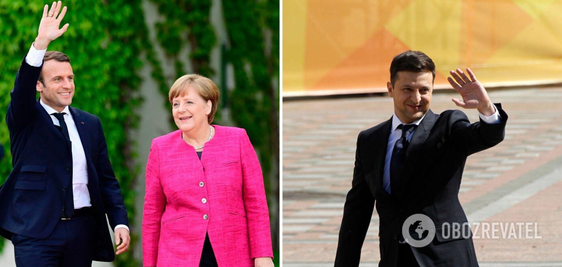 Президент Франции Эммануэль Макрон, канцлер ФРГ Ангела Меркель и президент Украины Владимир Зеленский