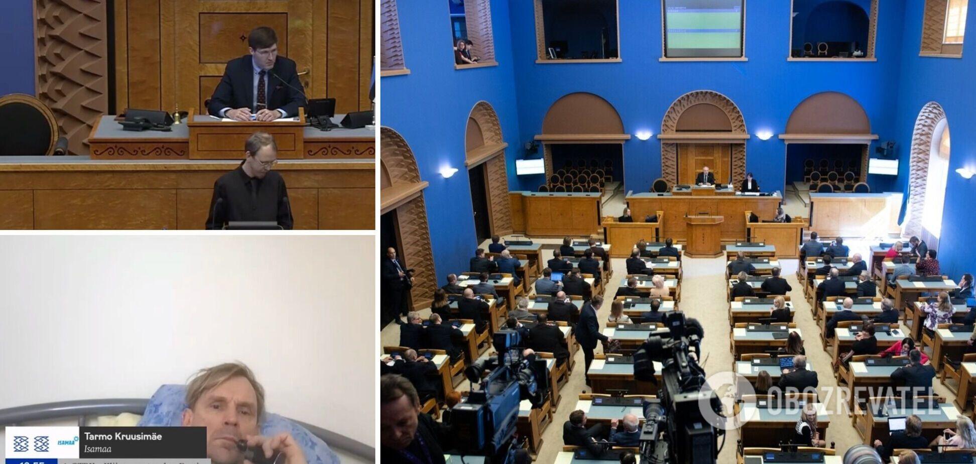 Депутата в Естонії застали напівоголеним та з сигаретою під час онлайн-засідання парламенту. Відео