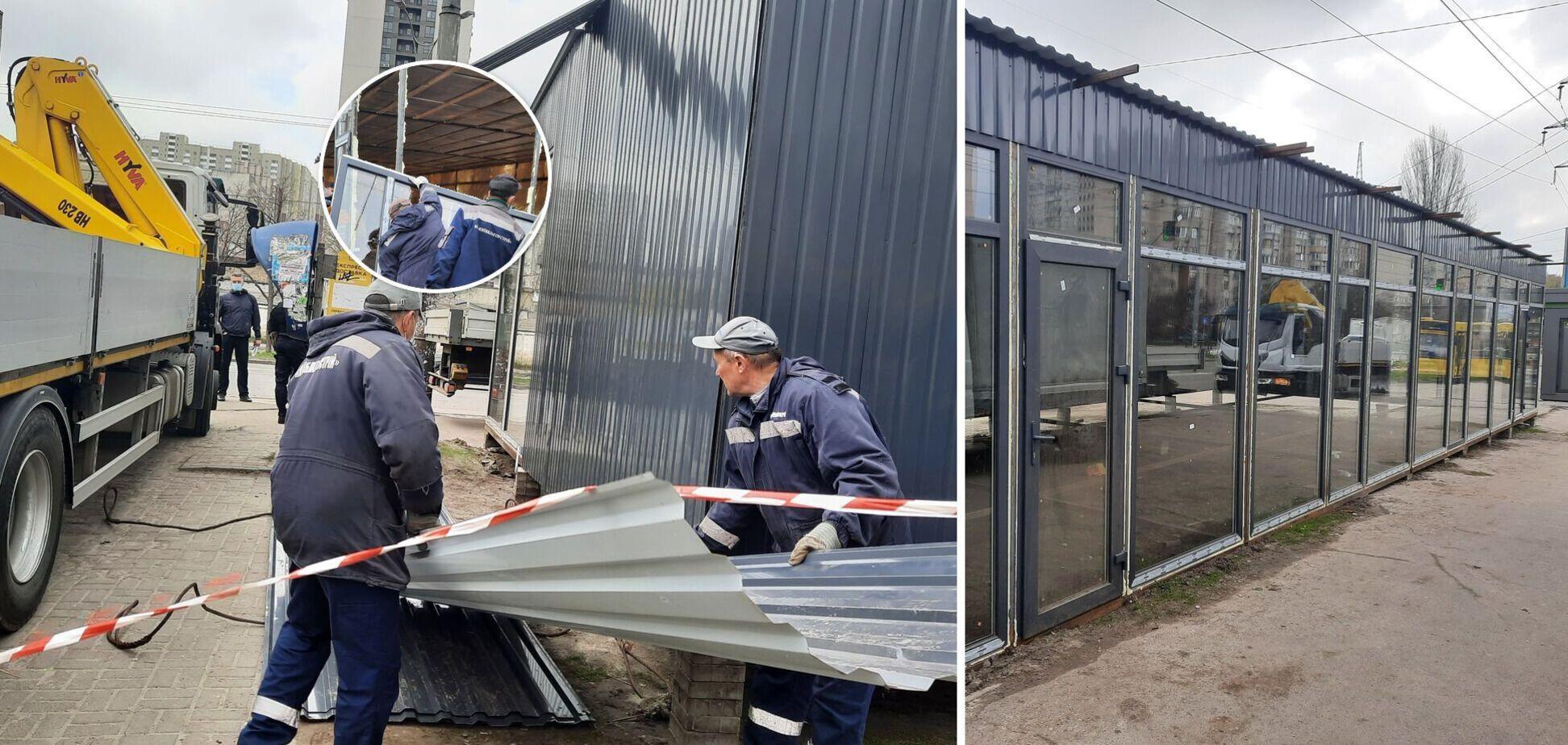 У Києві комунальники демонтували 15-метровий МАФ