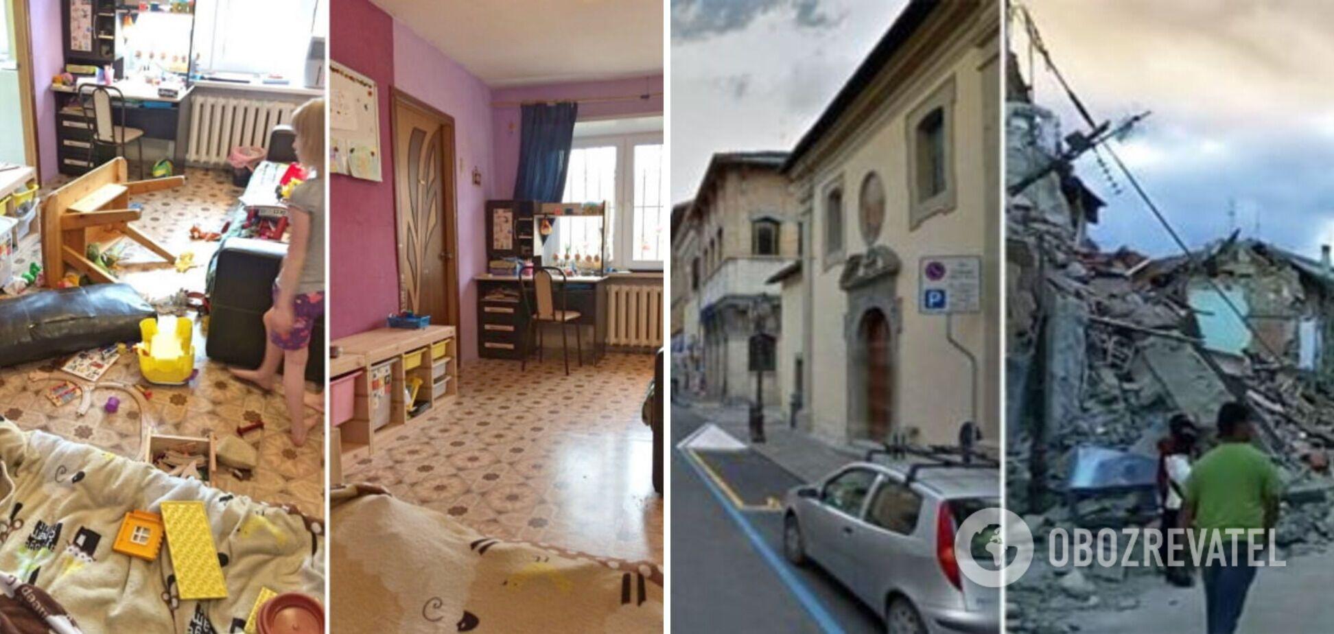 Будинки 'до' і 'після' землетрусу та буревію руками дітей