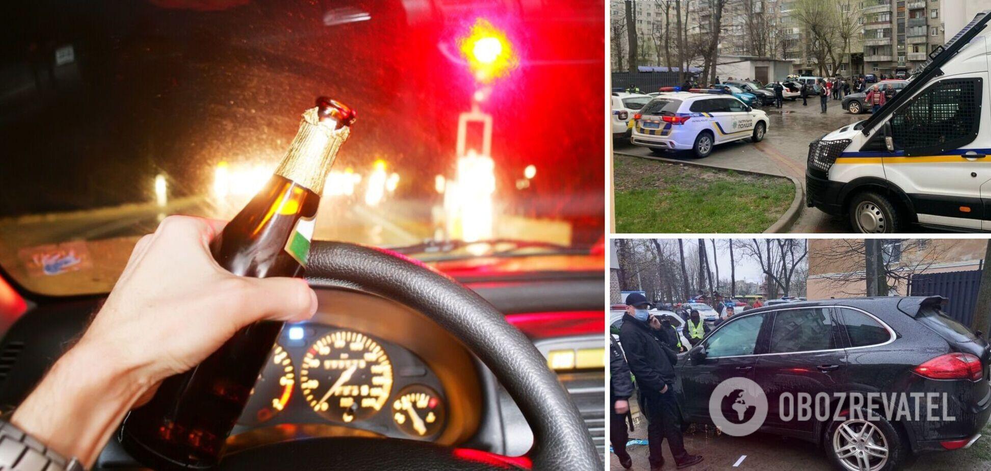 Во Львове бизнесмен на Porsche Cayenne совершил три ДТП и помочился на авто полиции. Фото и видео