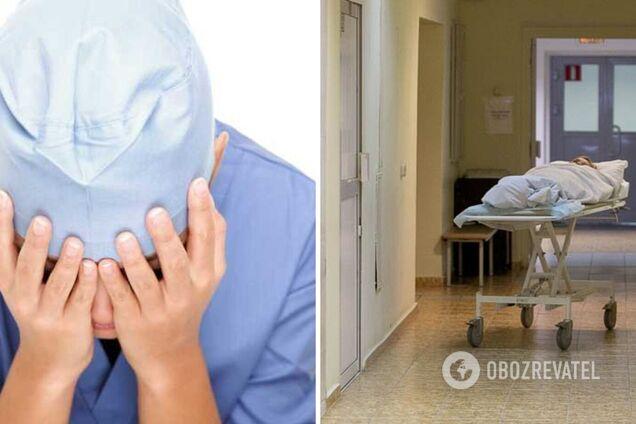 Русская медсестра пыхтит над пациентом