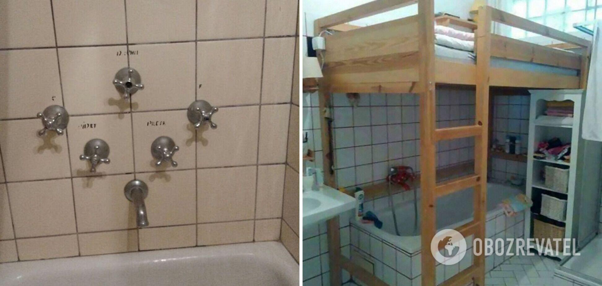 Ванна під ліжком і п'ять кранів для води.