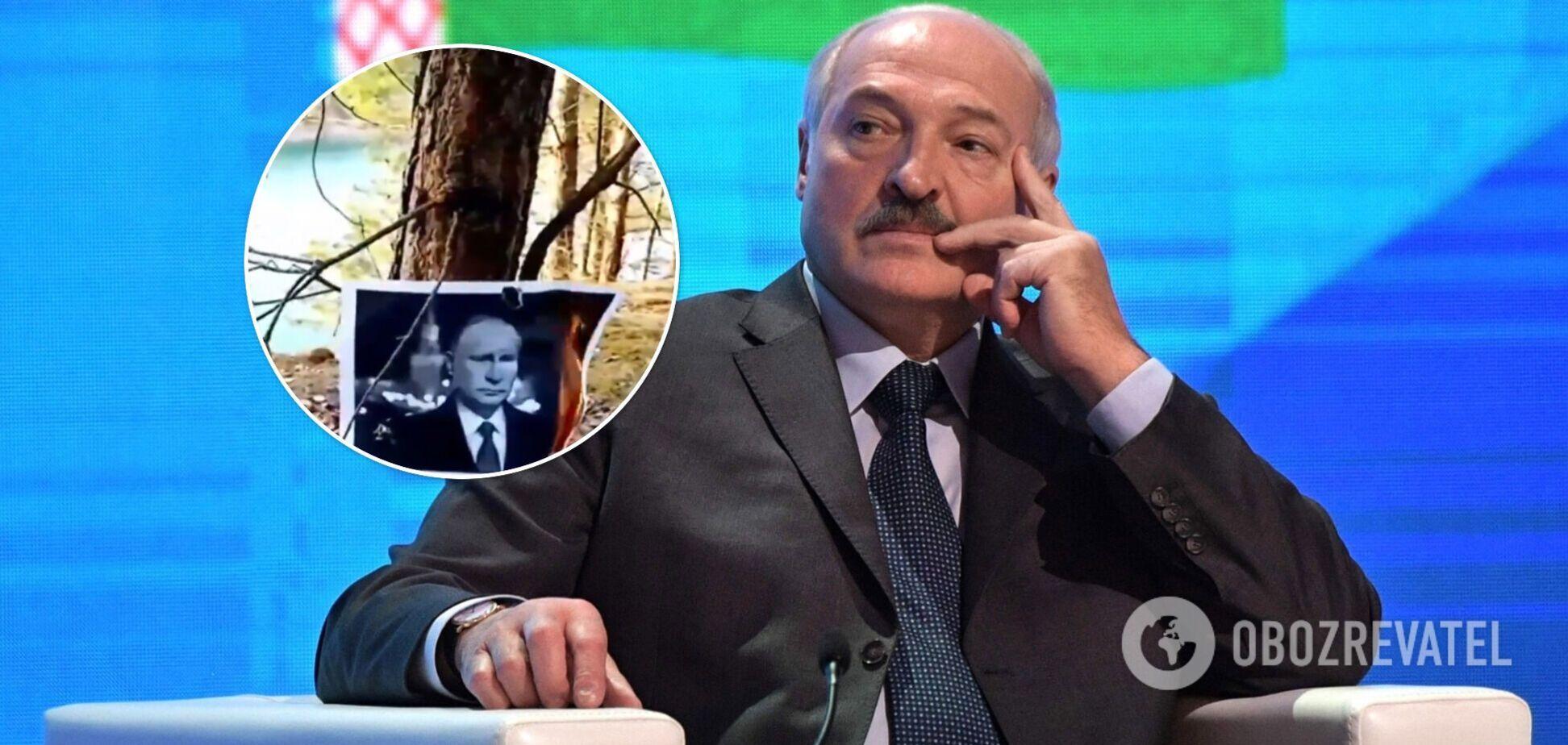 В Беларуси сожгли портреты Путина после поездки Лукашенко в Москву