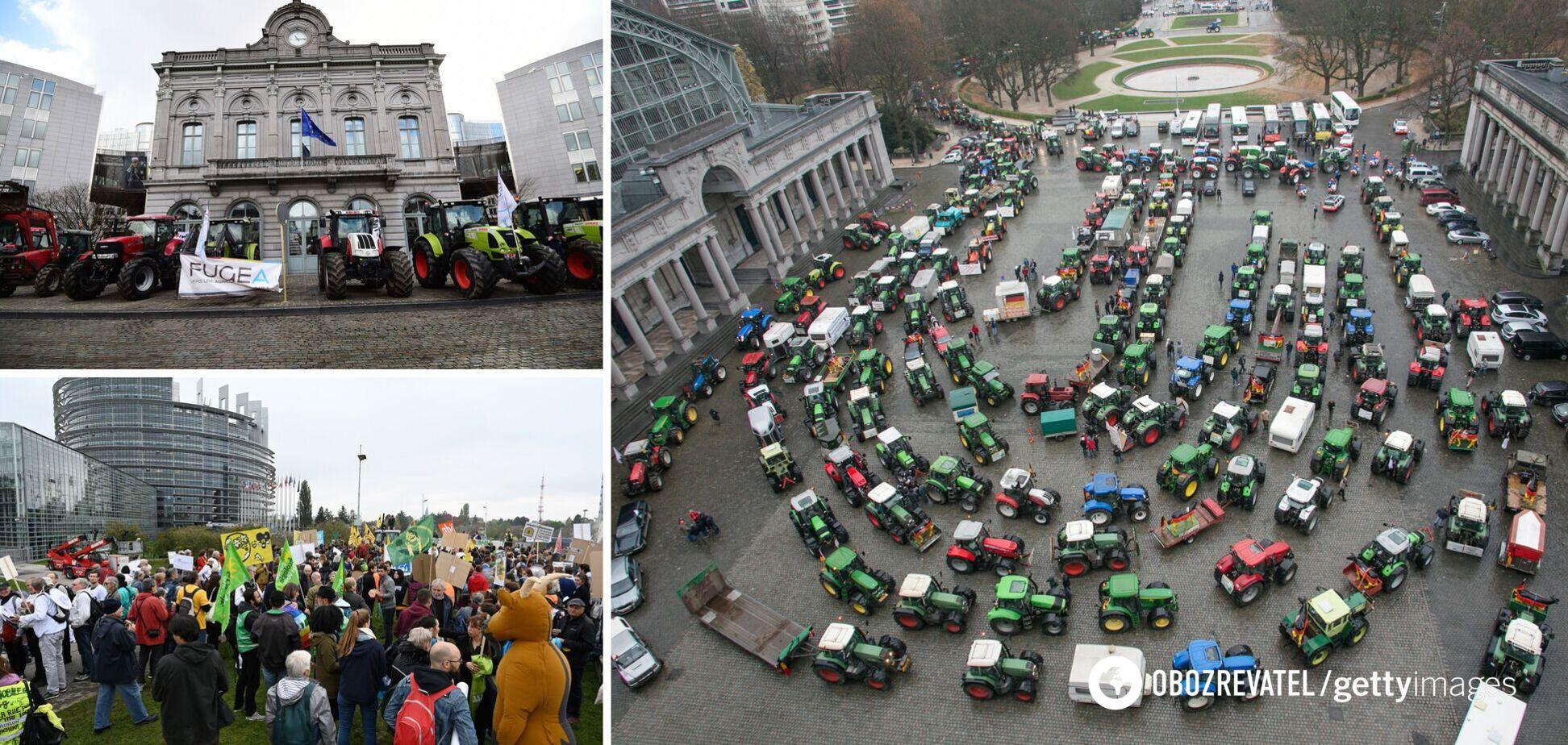 Почти 1,5 тысячи тракторов блокировали движение у Европарламента. Фото и видео масштабного протеста