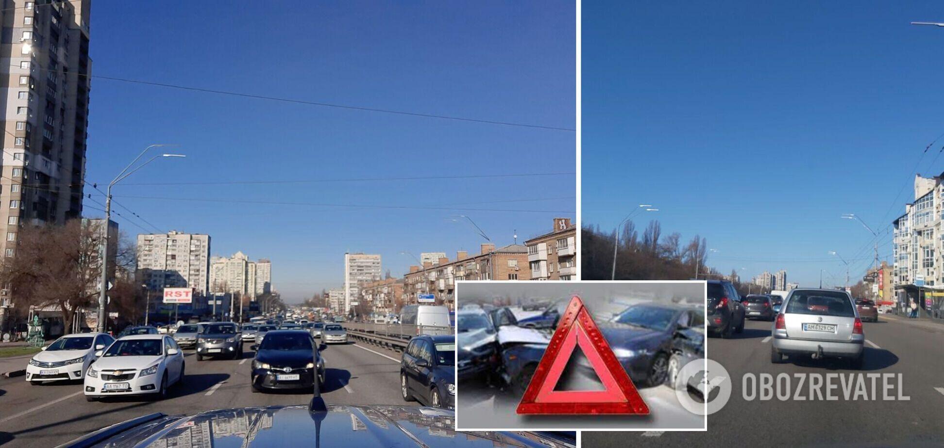 Київ у перший день локдауну скували затори та ДТП. Фото
