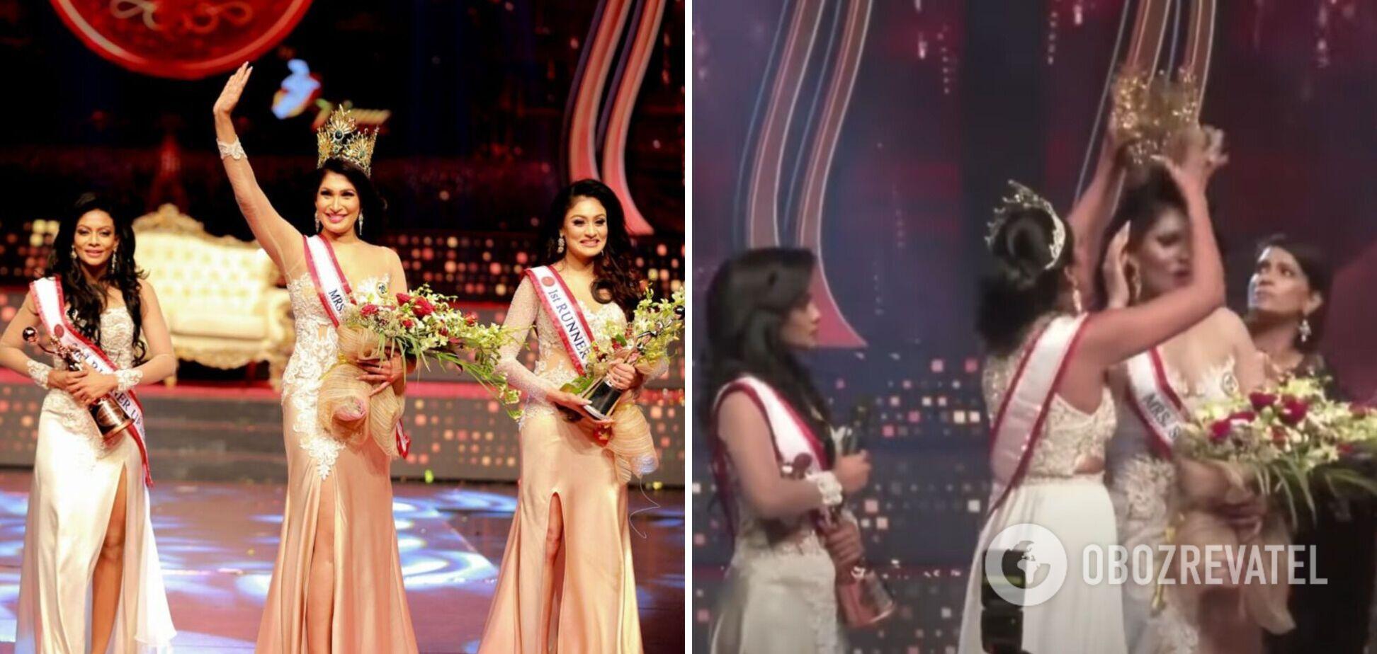 На конкурсе 'Миссис Шри-Ланка' с победительницы сорвали корону. Видео