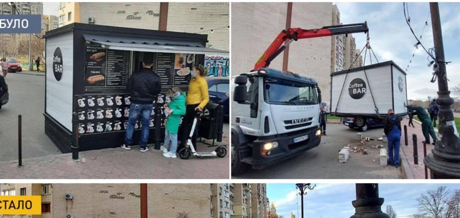 В Киеве убрали МАФы возле Оболонской набережной
