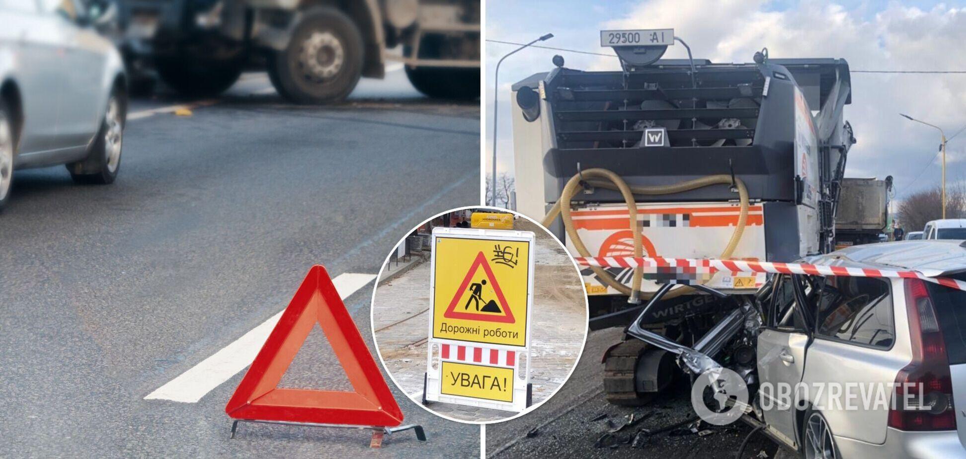 Під Ужгородом Volvo сплюснуло від зіткнення з авто служби ремонту доріг, є жертви. Фото