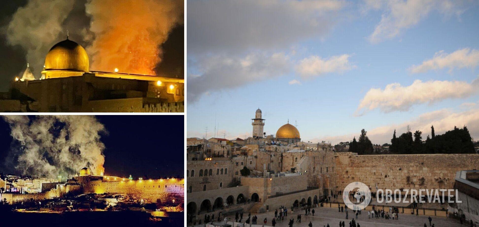 На Храмовой горе в Израиле после ракетного обстрела вспыхнул пожар. Видео