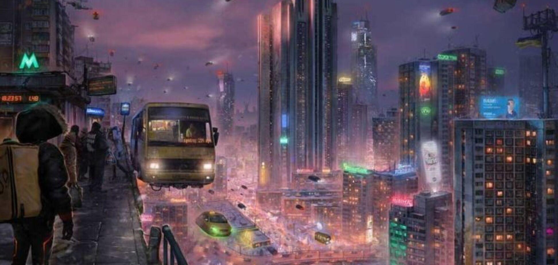 Художник показав, як виглядатиме Київ у 2077 році: маршрутки нікуди не зникнуть