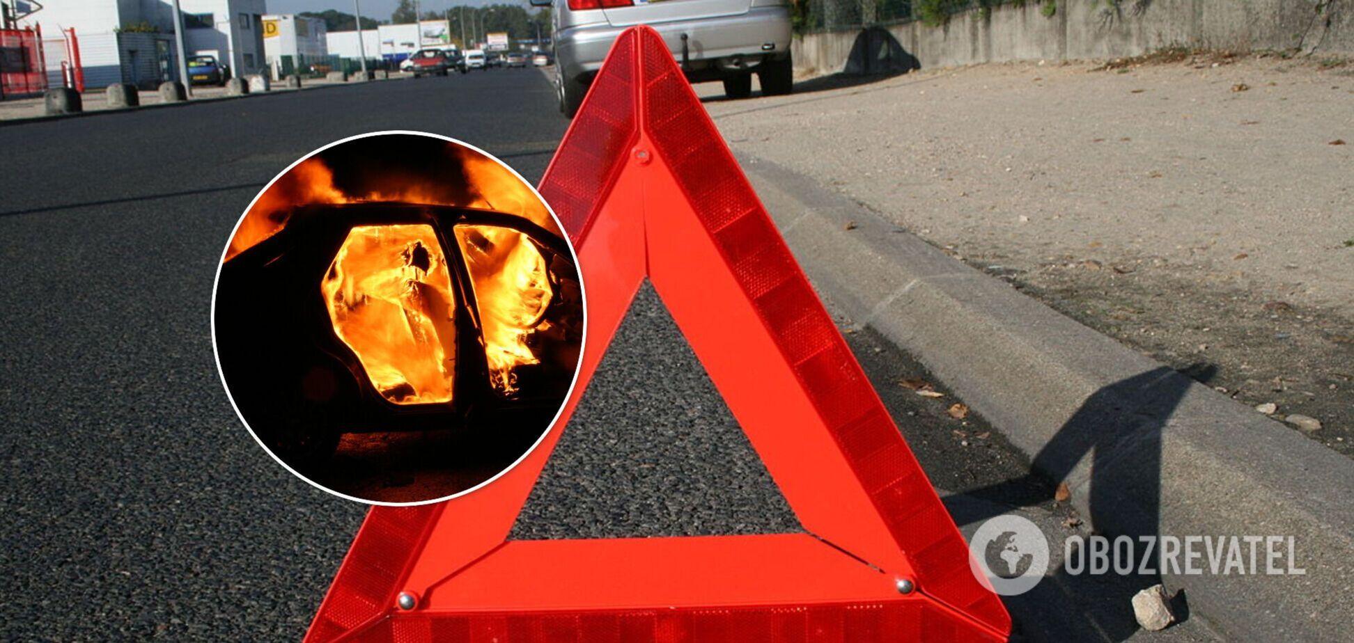 На Запорожье из-за ДТП с участием пьяного полицейского загорелись два авто