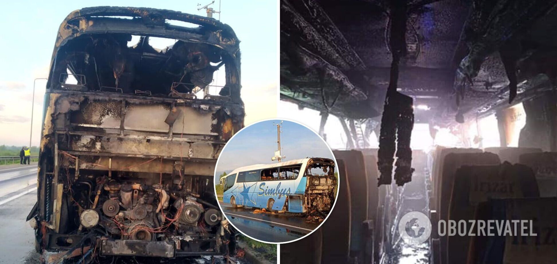 На Львівщині згорів рейсовий автобус, який перевозив пасажирів. Фото