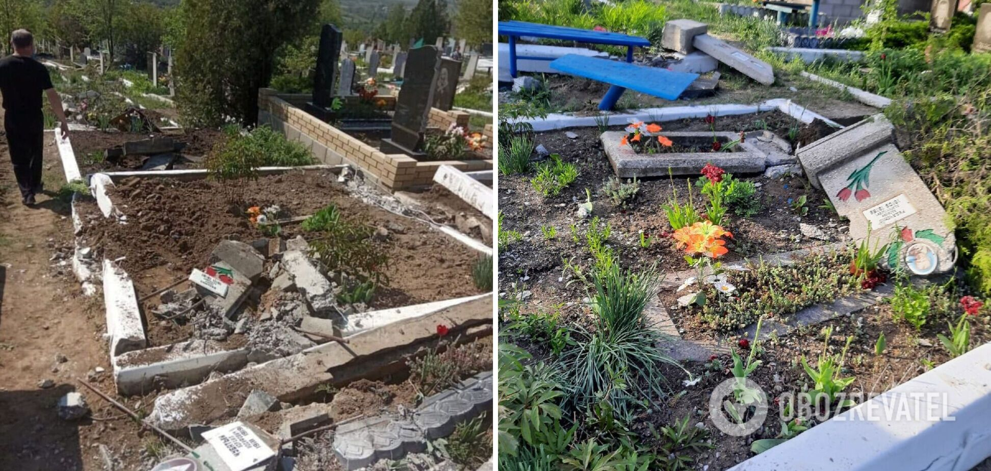 Террористы 'ЛНР' танком уничтожили кладбище на Донбассе. Фото