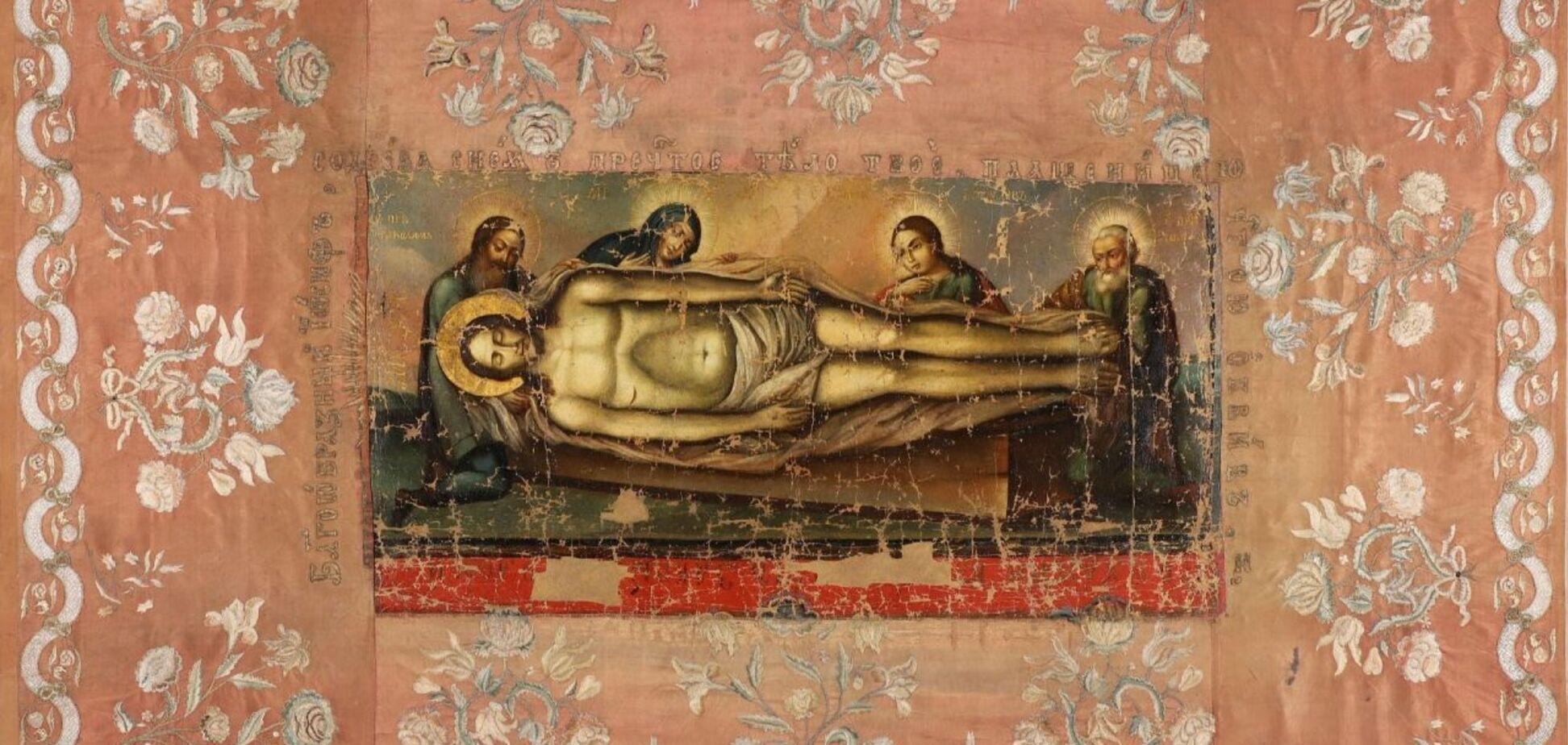 У Києві відреставрували унікальну плащаницю XVIII століття