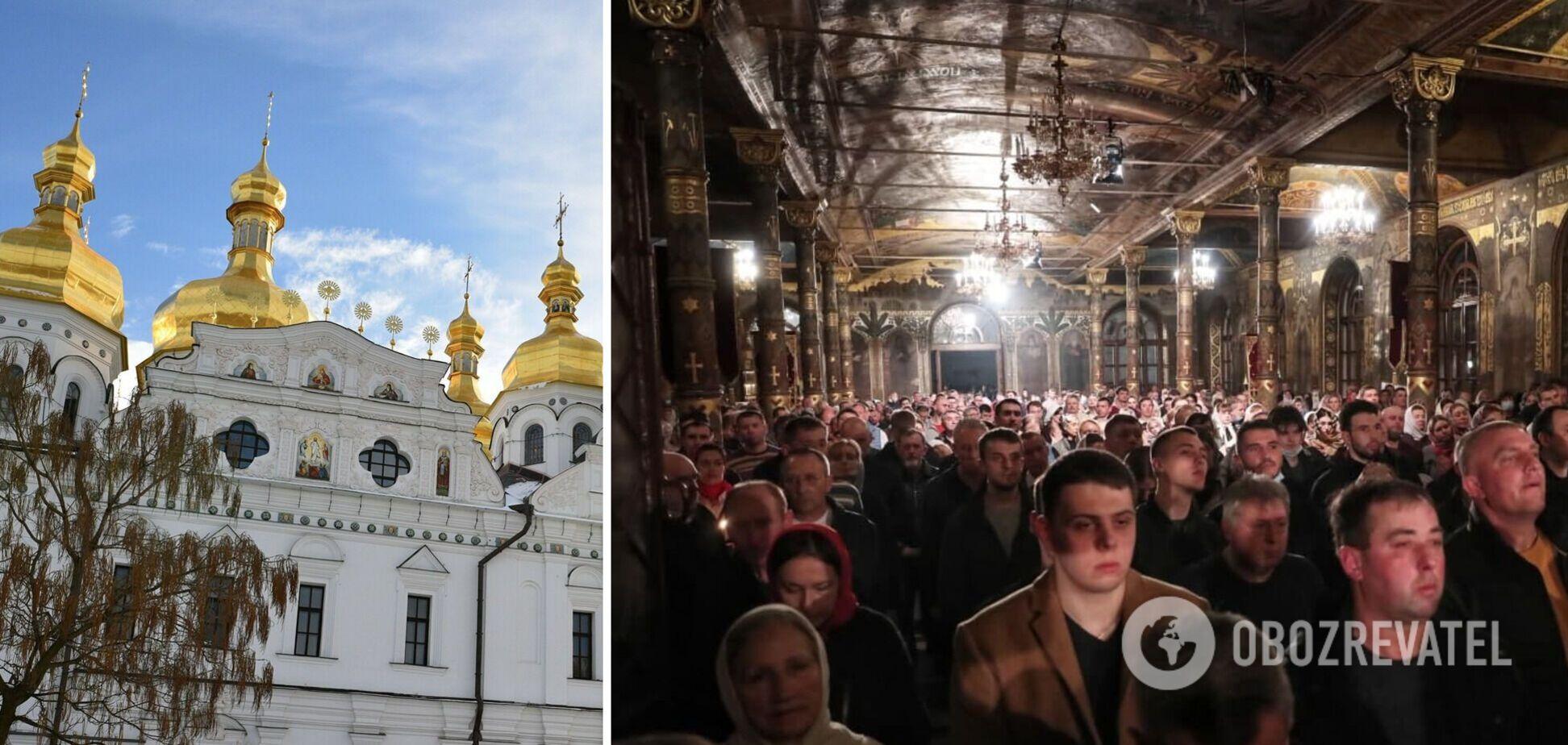 В Киево-Печерской лавре прихожане УПЦ МП массово нарушали карантин. Фото