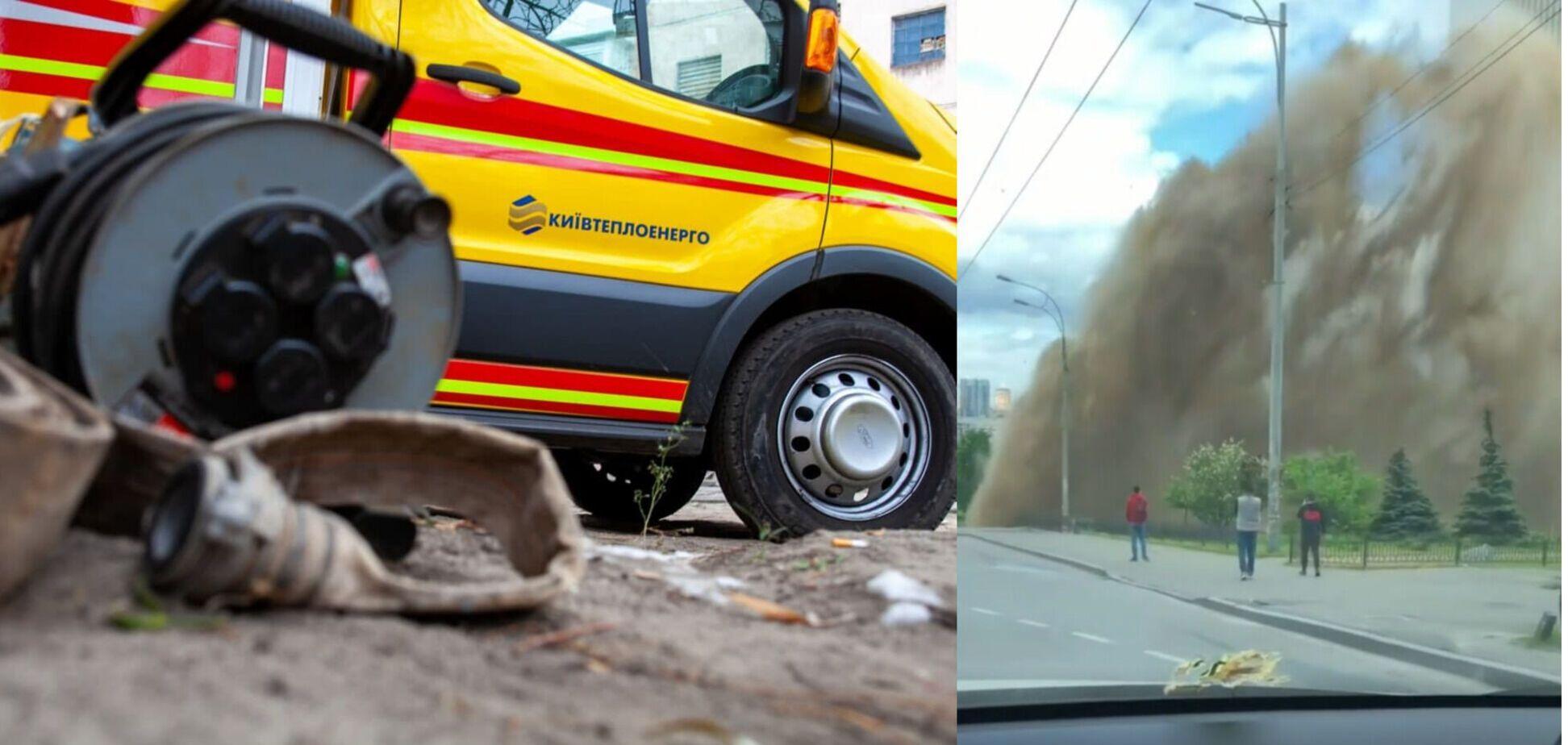 В Киеве 10-метровый 'гейзер' из кипятка разбил машины и смыл асфальт. Видео и фото ЧП