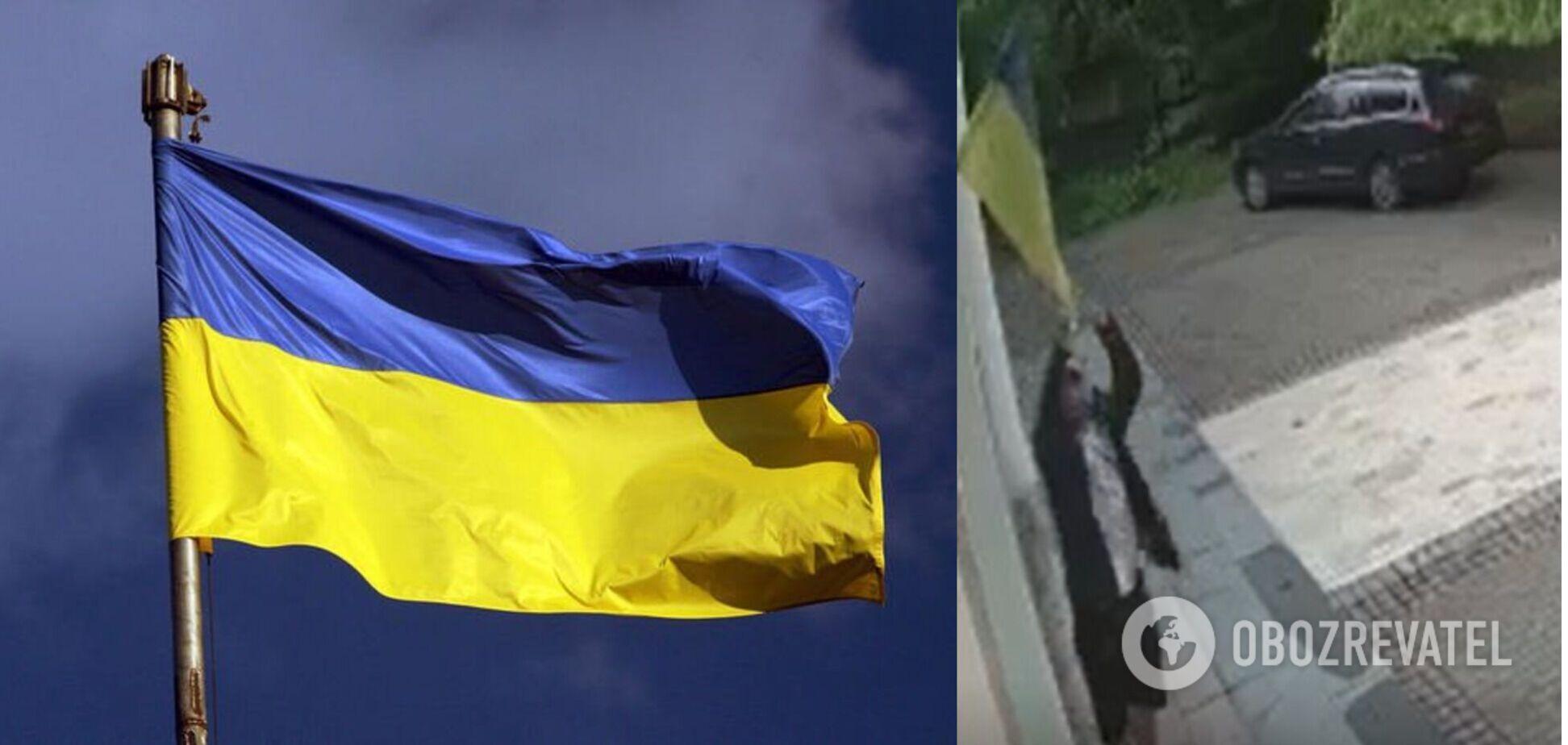 У Києві чоловік поглумився над прапором України. Відео
