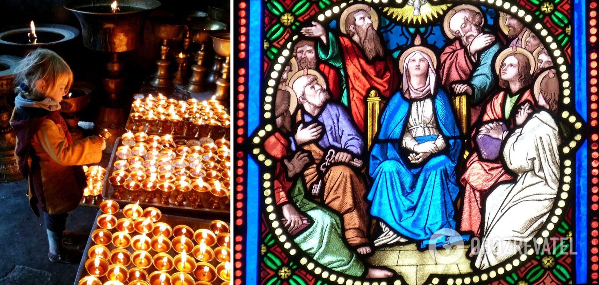 Пятидесятница посвящена событию сошествию Святого Духа на апостолов на пятидесятый день по Воскресении Христову