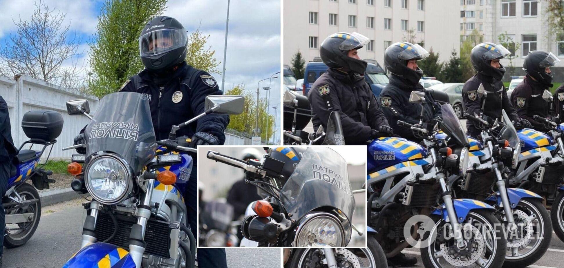 На вулиці Києва знову виїхали поліцейські на мотоциклах. Фото