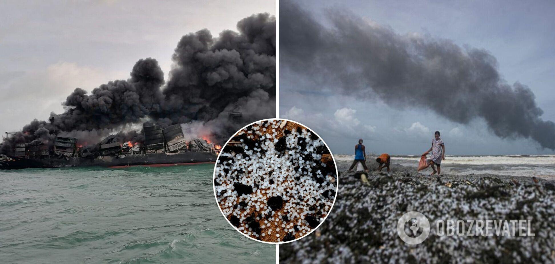 На Шрі-Ланці пожежа на судні влаштувала найбільше забруднення в історії. Фото