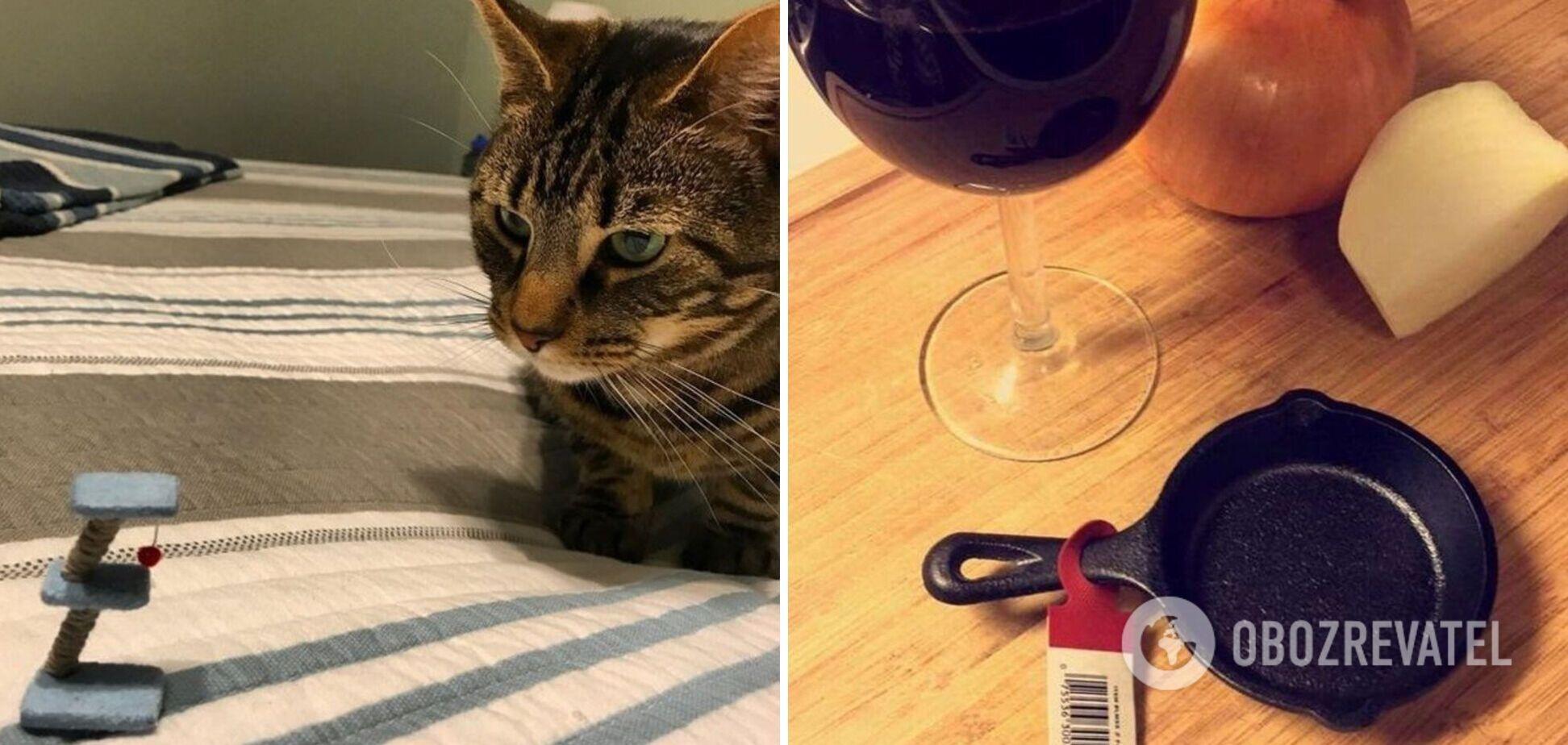 Девушка заказала на китайском сайте игрушку для кота и сковородку, но не знала, что это мини-версия