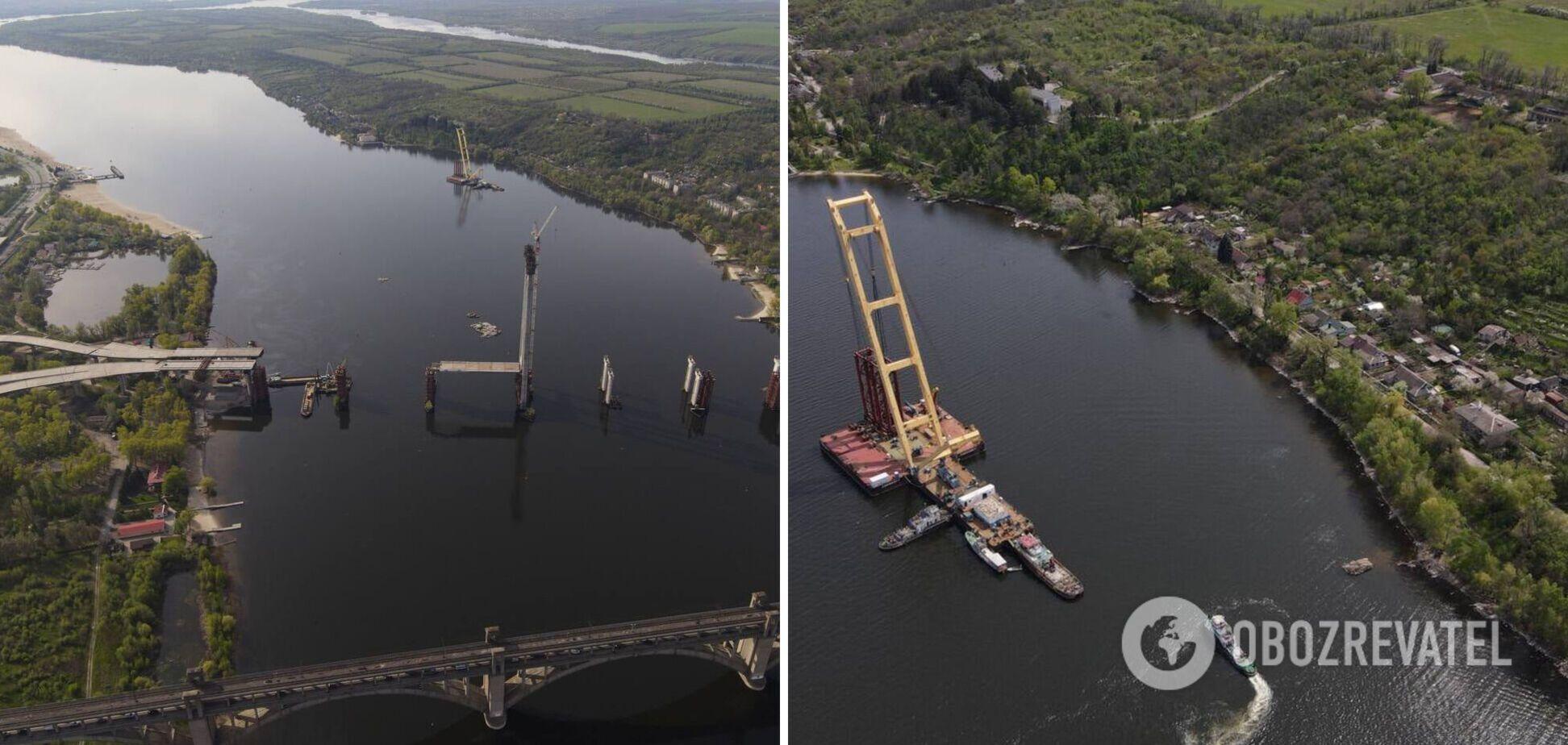 У Запоріжжі гігантський кран 'Захарій' під час будівництва моста врізався в скелю. Фото