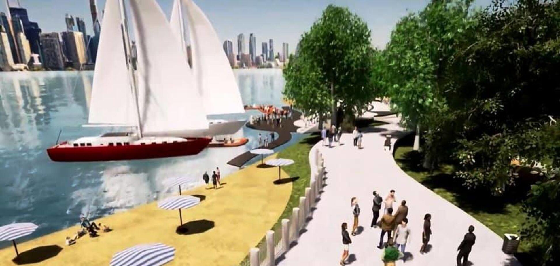 У Києві створять новий парк на набережній Дніпра. Відео