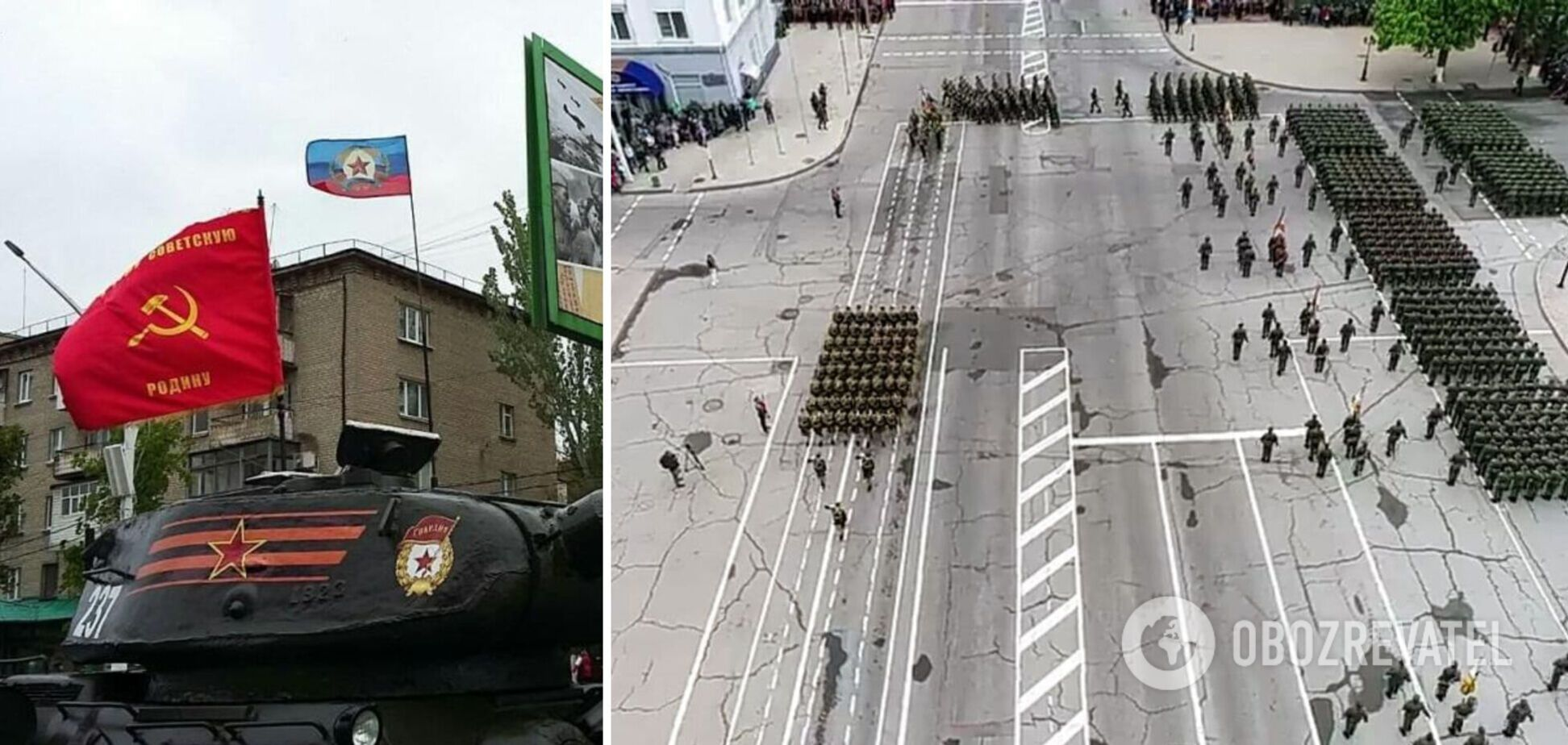 В Луганске оккупанты устроили 'военный парад' по разбитым дорогам. Фото