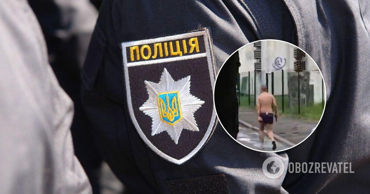В Киеве полуголый мужчина открыл огонь на улице