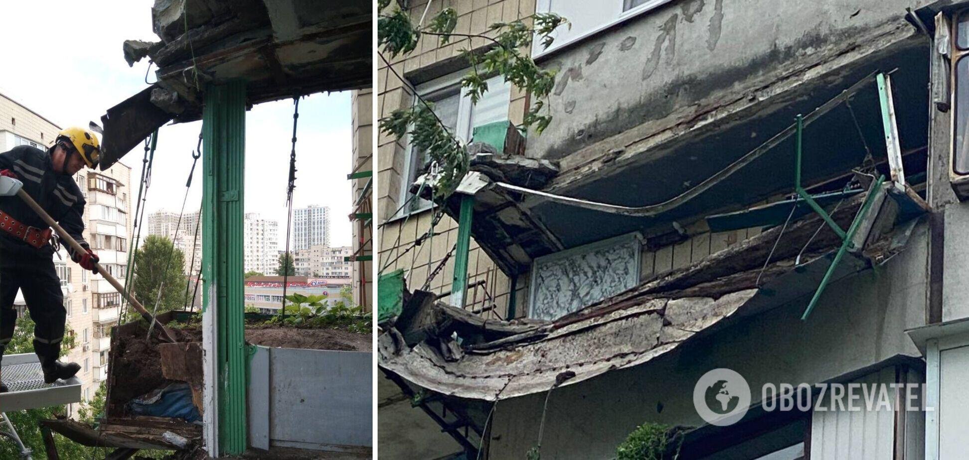 В Киеве частично упал балкон
