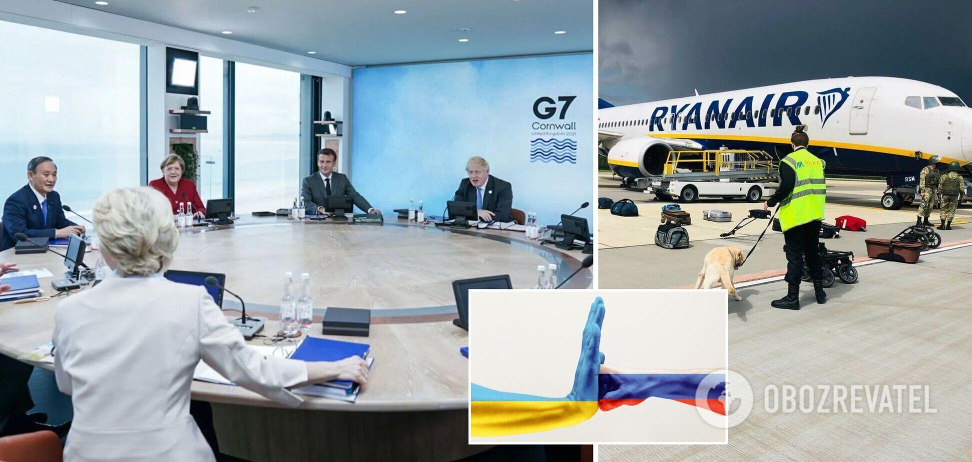 Країни G7 назвали РФ стороною конфлікту на Донбасі і пообіцяли покарати причетних до арешту Протасевича. Головні рішення саміту