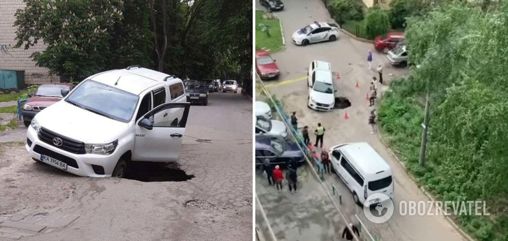 У Києві позашляховик провалився під асфальт. Фото та відео
