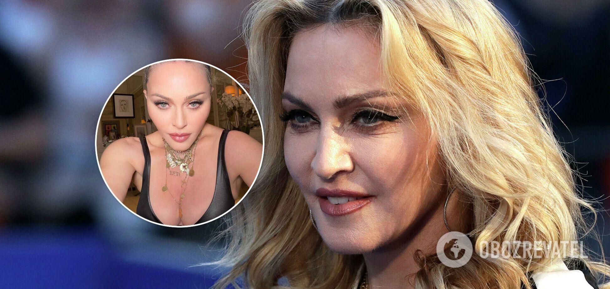 62-летняя Мадонна засветила грудь в кожаном белье. Фото