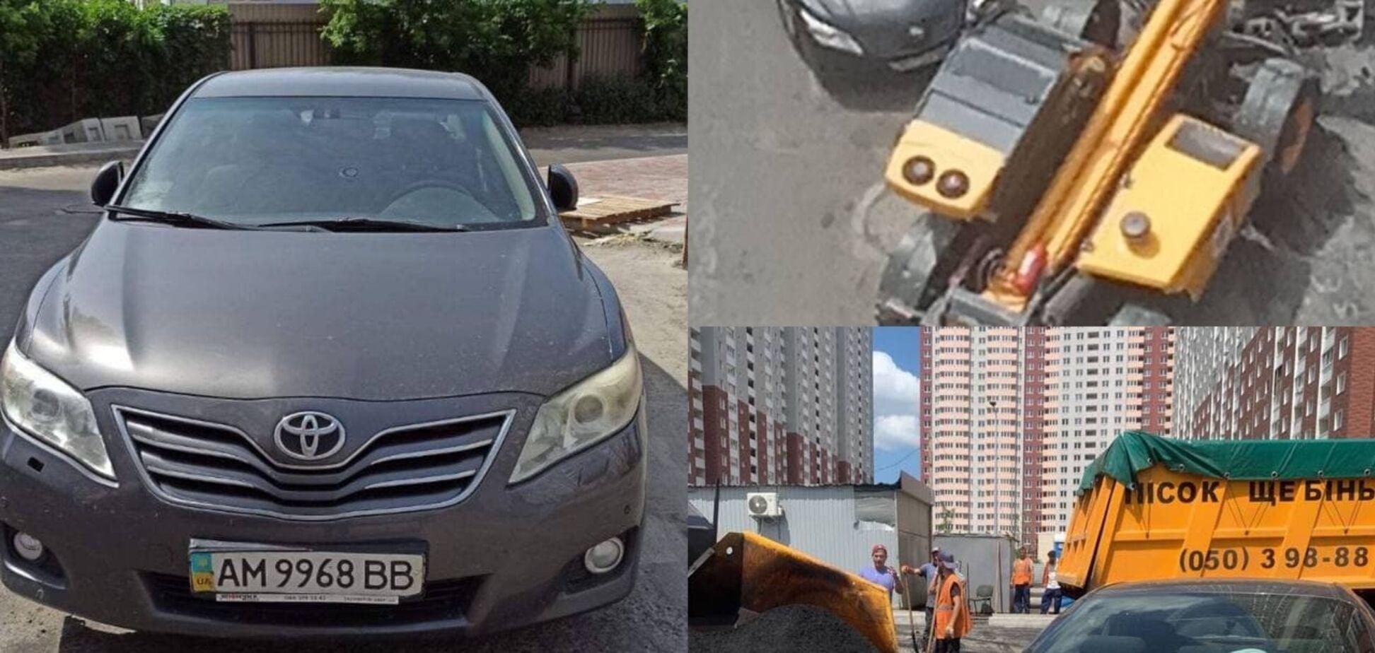 В Киеве из-за героя парковки не могут положить асфальт. Фото