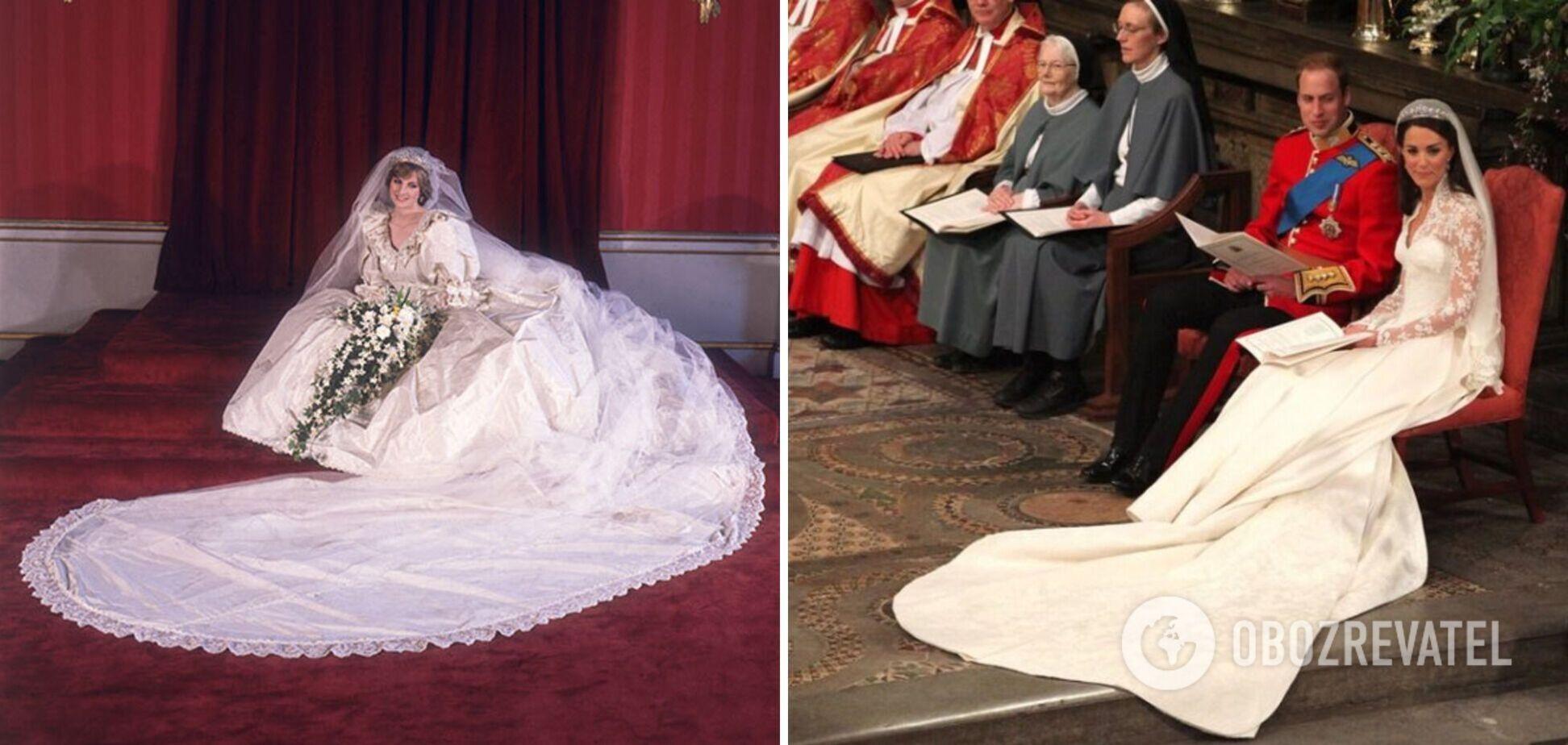 Леді Ді й Кейт Міддлтон одягли весільні сукні зі шлейфом