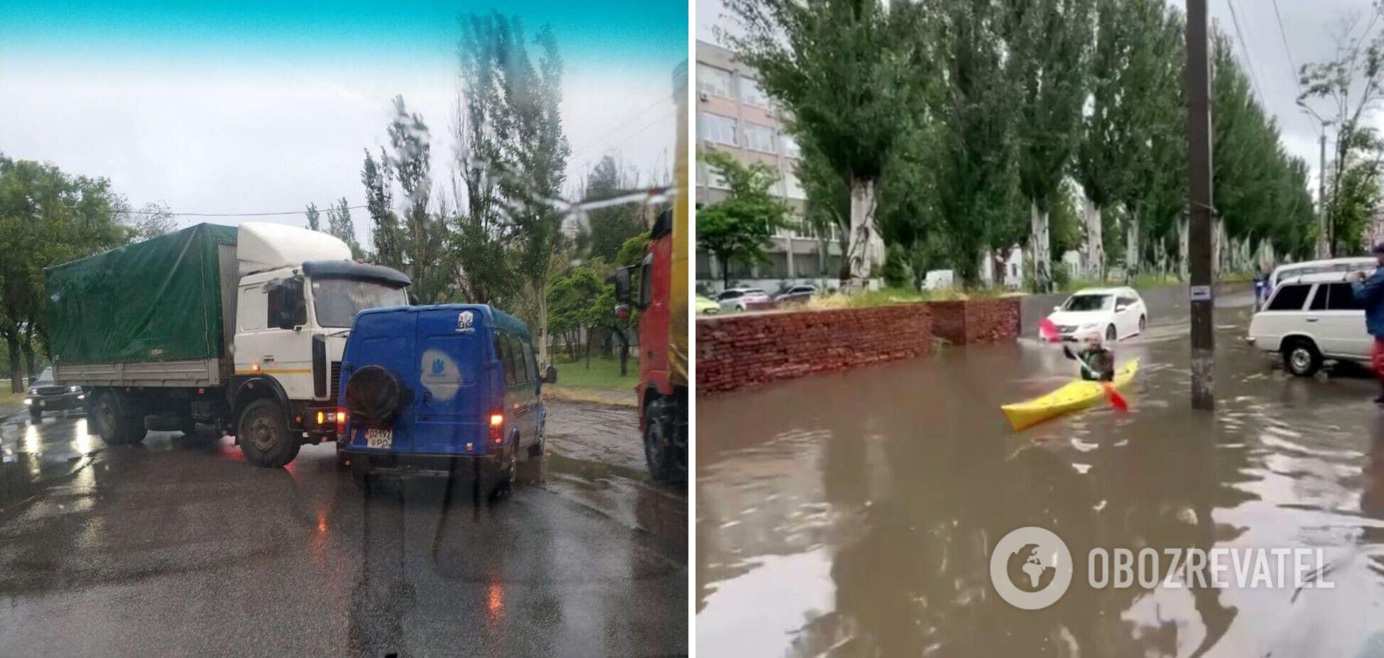 В Днепре из-за дождя улицы ушли под воду. Фото и видео потопа