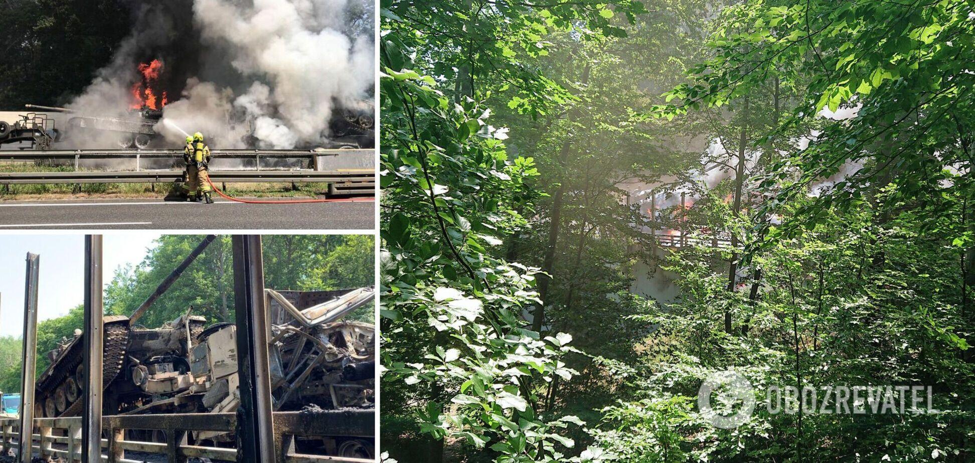 У Польщі евакуатори з танками потрапили в ДТП і загорілися. Фото й відео