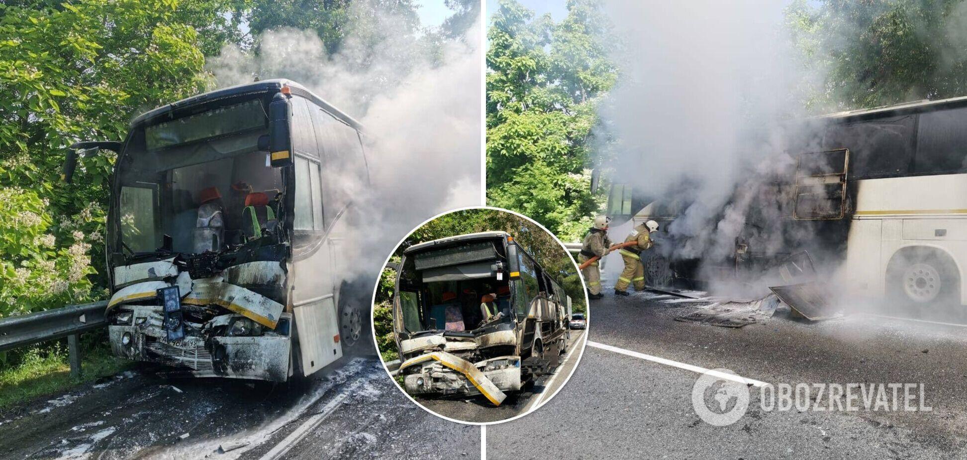 На Кубані зіткнулися два автобуси з дітьми, один загорівся, 15 постраждалих. Фото та відео аварії