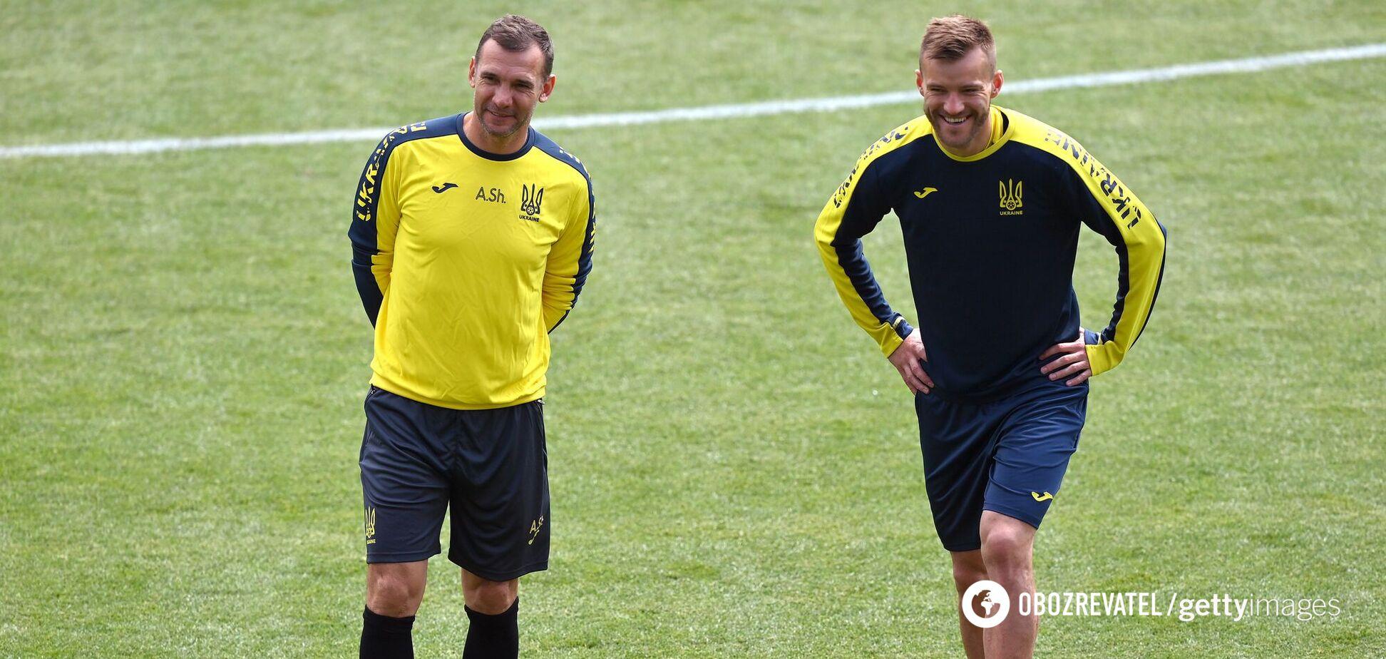 Андрей Шевченко и Андрей Ярмоленко на тренировке сборной Украины