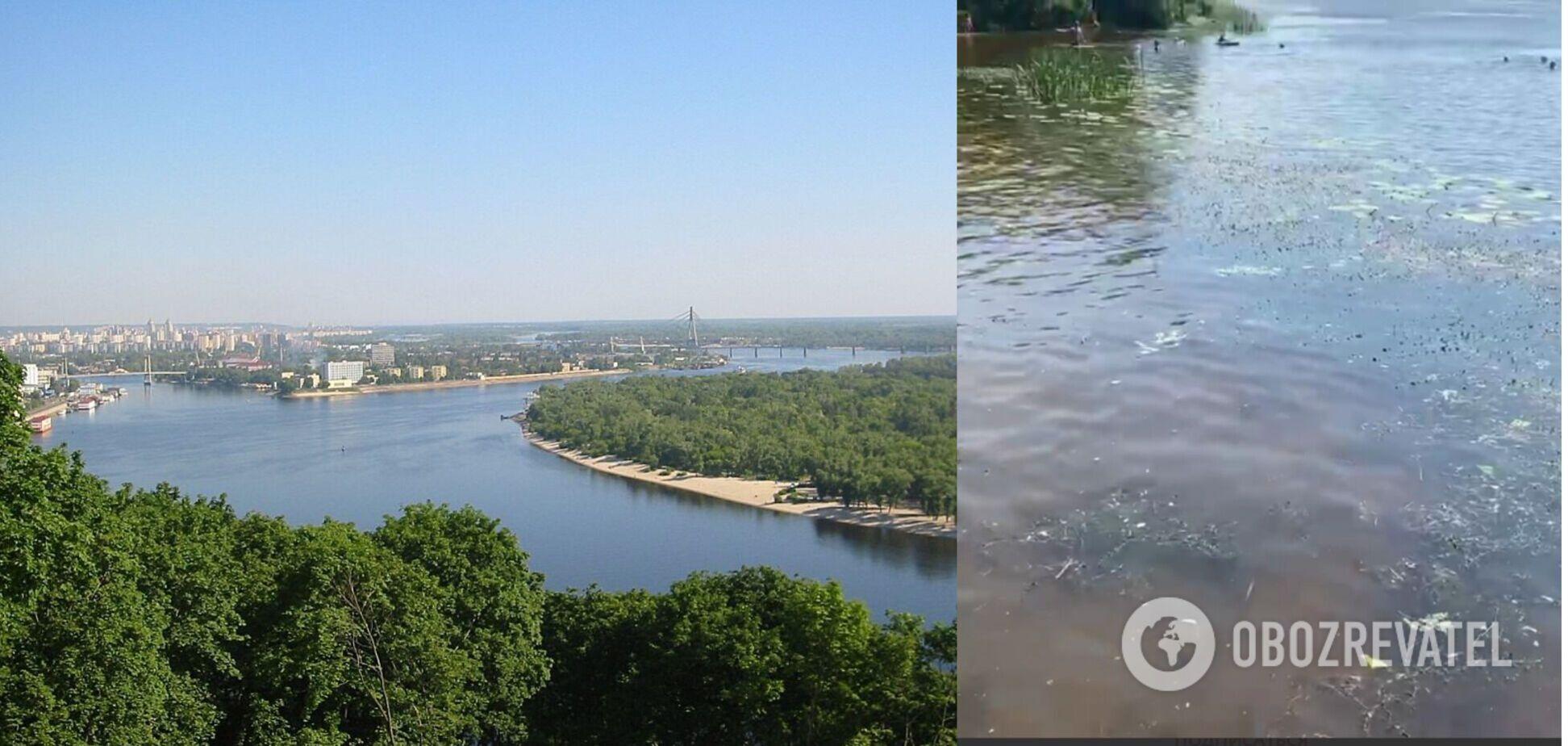 Дніпро в Києві раптово змінив колір. Відео з висоти пташиного польоту