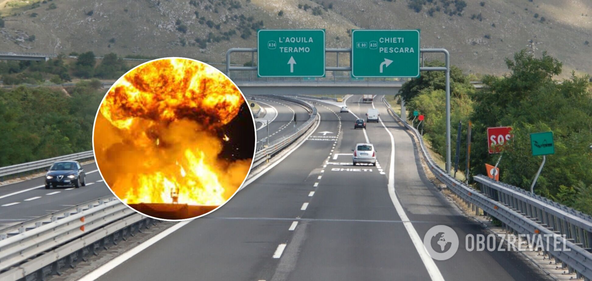 В Италии посреди трассы взорвался бензовоз, два человека погибли. Видео