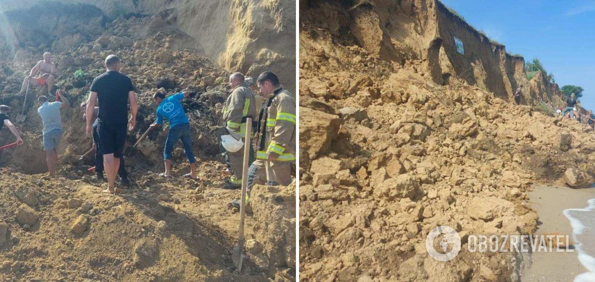 На Одещині стався зсув: рятувальники продовжили шукати людей під землею вночі. Фото
