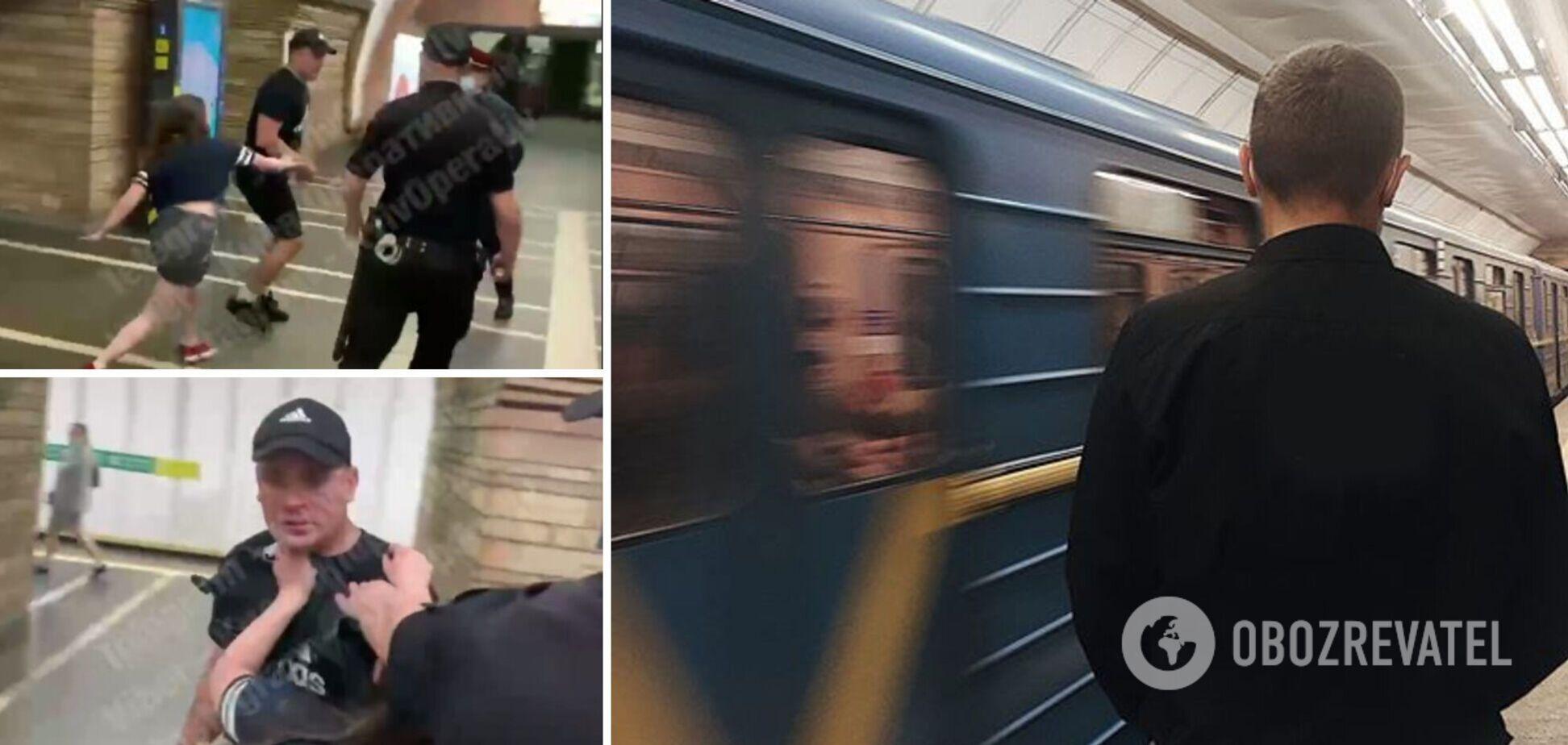 У Києві п'яний молодик накинувся з кулаками на пасажира метро, поліції теж перепало. Відео
