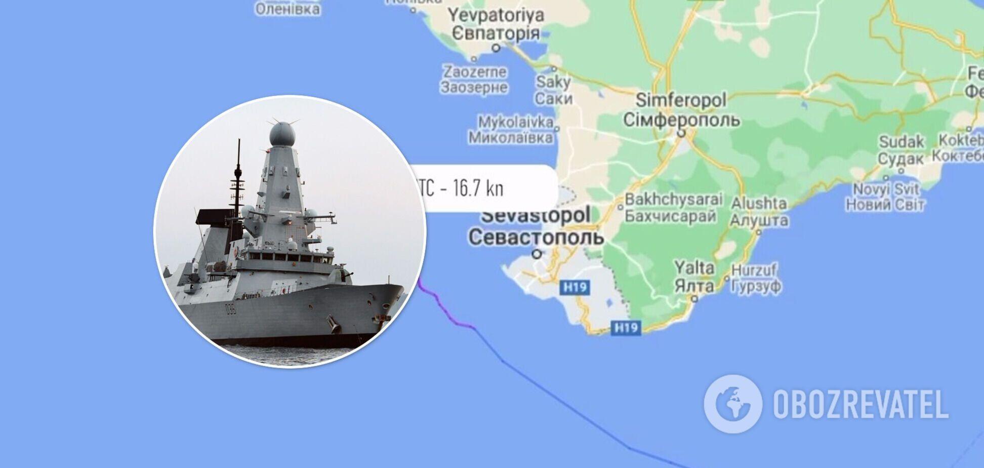 Британський есмінець Defender пройшов біля берегів окупованого Криму: відео траєкторії руху