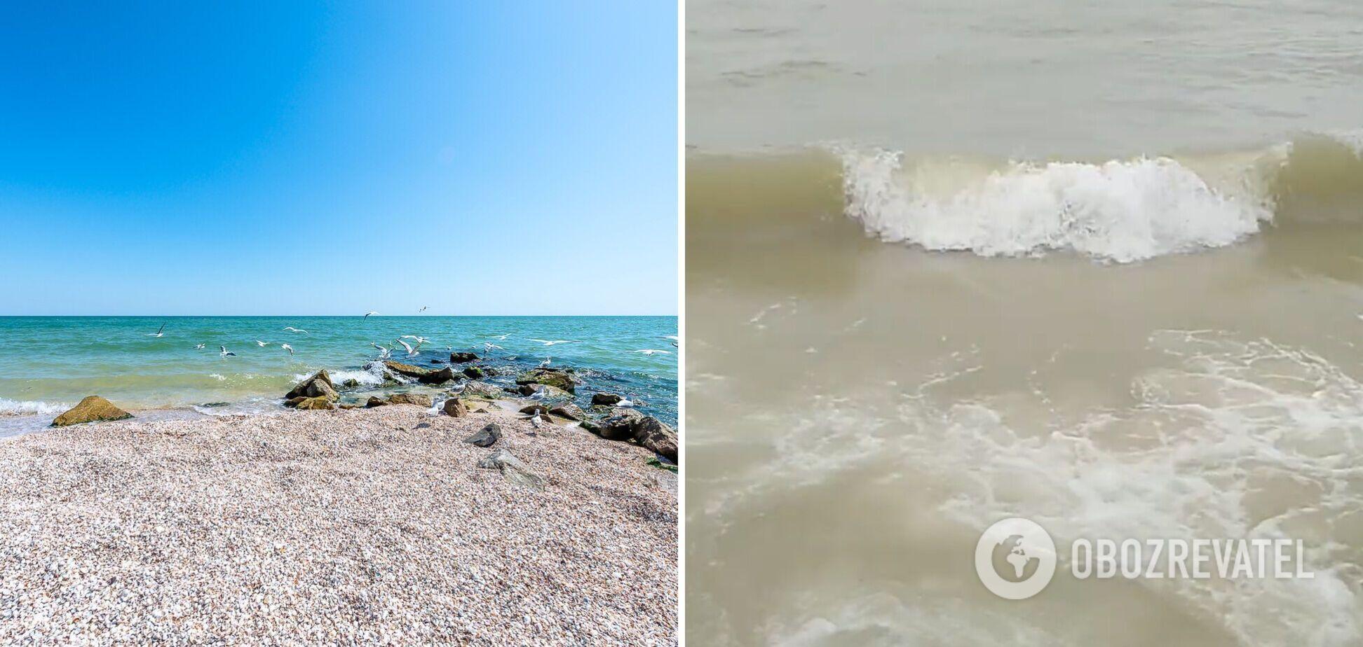 В Кирилловке море стало коричневого цвета